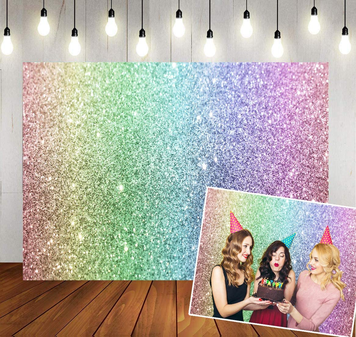 GoHeBe 7x5ft Beautiful Rainbow Backdrop Beautiful Prairie Rainbow Green Photographic Background and Studio Photography Backdrop Props LYLX249