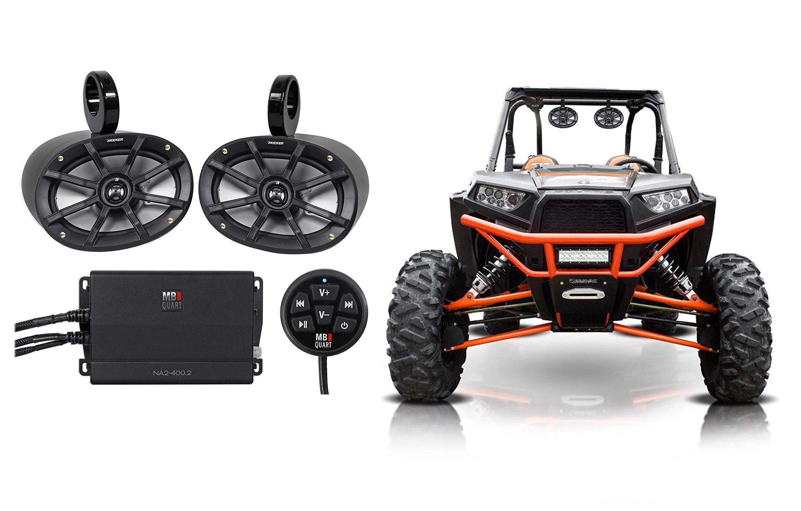 2) Kicker 6x9'' Tower Speakers+Amplifier+Bluetooth Controller Polairs RZR/ATV/UTV