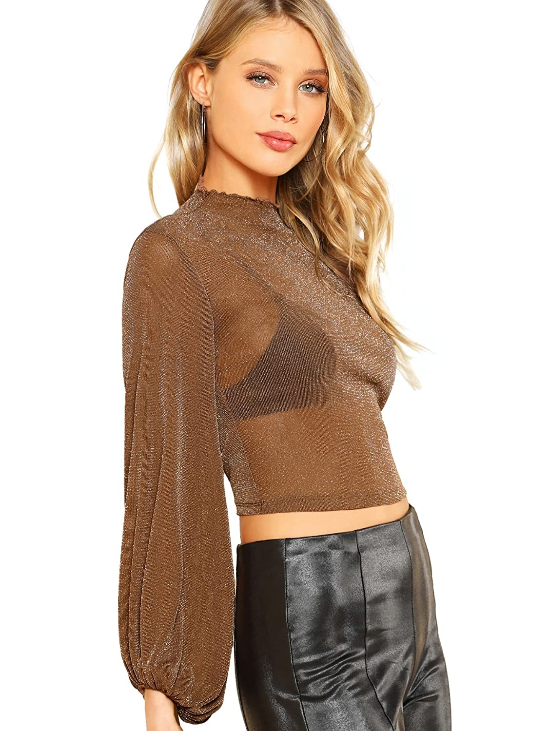 171ad16d2c72c Romwe Women s Bishop Sleeve Glitter Sexy Sheer Mesh Crop Blouse Top at  Amazon Women s Clothing store
