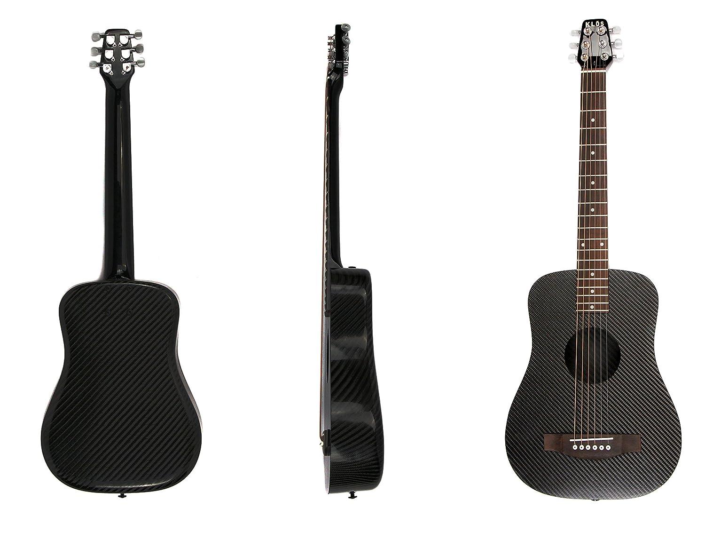 Klos negro de fibra de carbono de viaje de guitarra acústica (guitarra, funda, correa, cejilla, y más): Amazon.es: Instrumentos musicales