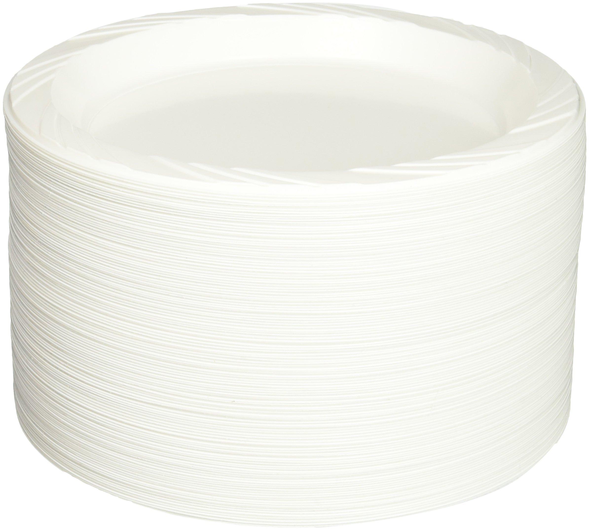Genuine Joe GJO10329 Plastic Reusable/Disposable Plate, 9'' Diameter, White (Pack of 125)