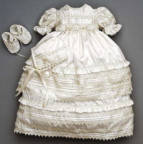 53c50324b Amazon.com: Beautiful Baby Girl Christening Gown Burbvus G002 ...