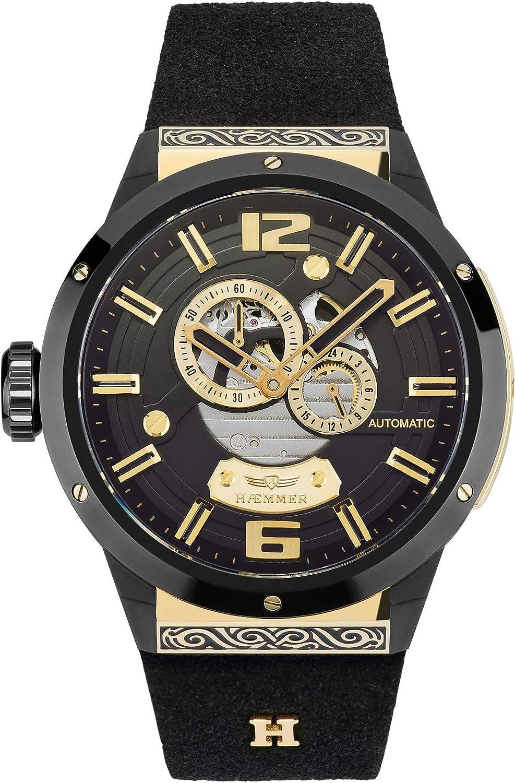 Reloj de Hombre de Acero Inoxidable Exclusivo con Correa Negra de Piel de Nobuk de Ternero cepillada, Caja de Acero Inoxidable Bicolor en Negro y Dorado.