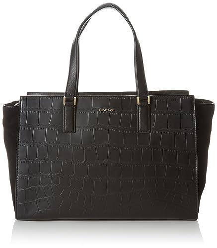 fde592f81a8 Calvin Klein Jeans Women's Shari Croc Large Tote Bag, Black (Black 001),