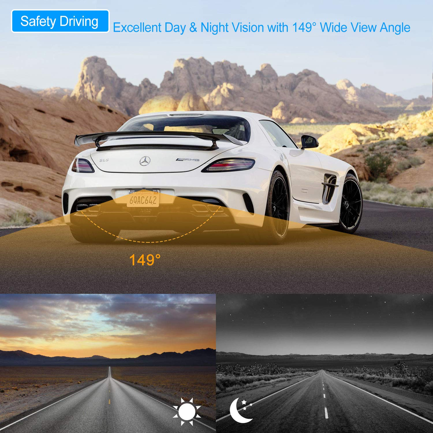 Wireless Backup Camera and Monitor License Plate Mounted HD Digital Signal Reversing Observation Camera Night Vision Waterproof Rear View for 5'' LCD Monitor be Used for Safety Driving by Xroose (Image #4)