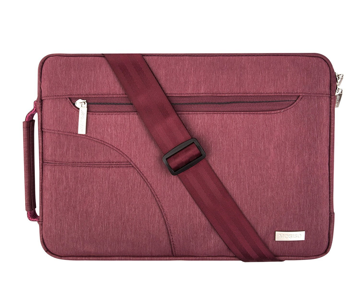 MOSISO Laptop Shoulder Bag Compatible 13-13.3 Inch MacBook Pro, MacBook Air, Ultrabook Netbook Tablet, Polyester Ultraportable Protective Briefcase Carrying Handbag Sleeve Case Cover, Wine Red