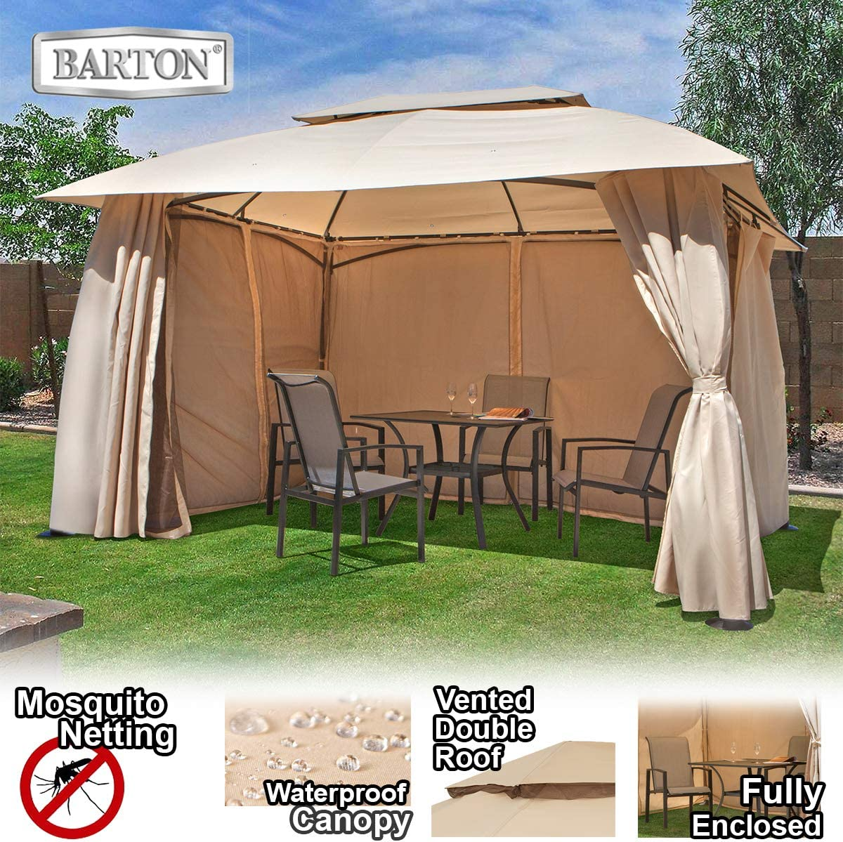 Barton 10 x 13 ft Garden Patio Gazebo Fully Enclosed All-Season UV-Resistant w Mosquito Netting and Curtain