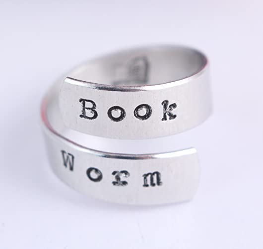 Book Worm Wrap Ring - Bookworm Twist Ring - Book Lover - Gift for Reader