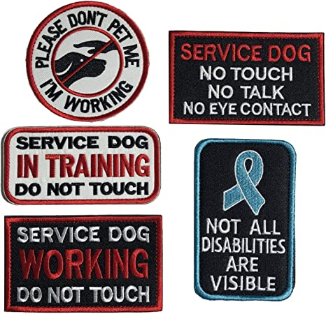 Antrix 3 Pieces Morale Dog Patch Please Dont PET ME Im Working Service Dog Working Do Not Touch Service Dog No Touch No Talk No Eye Contact Full Embroidered Morale Patch for Dogs and Pets