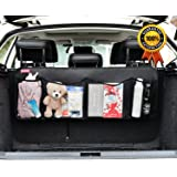 SunteeLong Auto Trunk Organizer-Car Backset Storage Keep Your Car Clean,4 Durable Pockets for More Trunk Space, Great Trunk Storage Organizer/Car Cargo Organizer for Road Trips,Perfect for All Vehicle