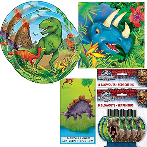 Dinosaur Birthday Party / Table Ware Pack for 16 + Complimentary Jurassic World Blow Outs
