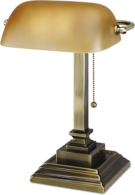 Alera Lmp517ab Traditional Banker S Lamp W Usb 16 High Amber Glass Shade W Antique Brass Base Amazon Ca Home Kitchen