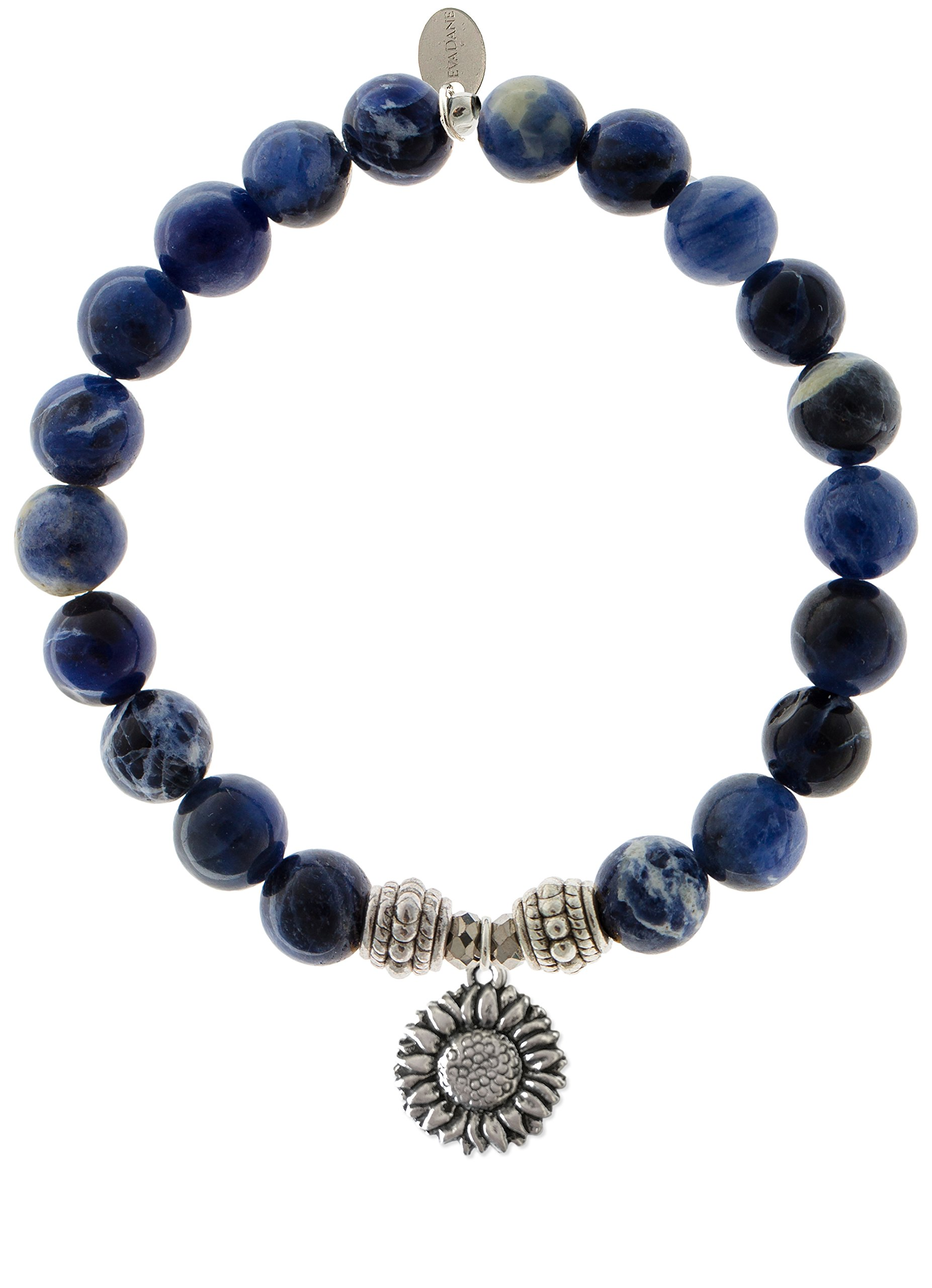 EvaDane Natural Sodalite Gemstone Rope Bead Sunflower Charm Stretch Bracelet - Size 7 Inch ( 1_SOD_S_R_SUF_7)
