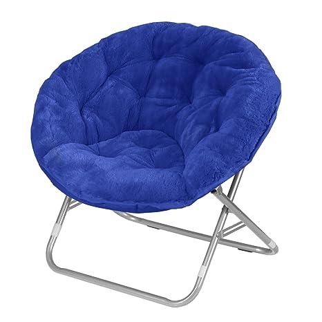 Merveilleux Urban Shop Faux Fur Saucer Chair With Metal Frame, One Size, Blue