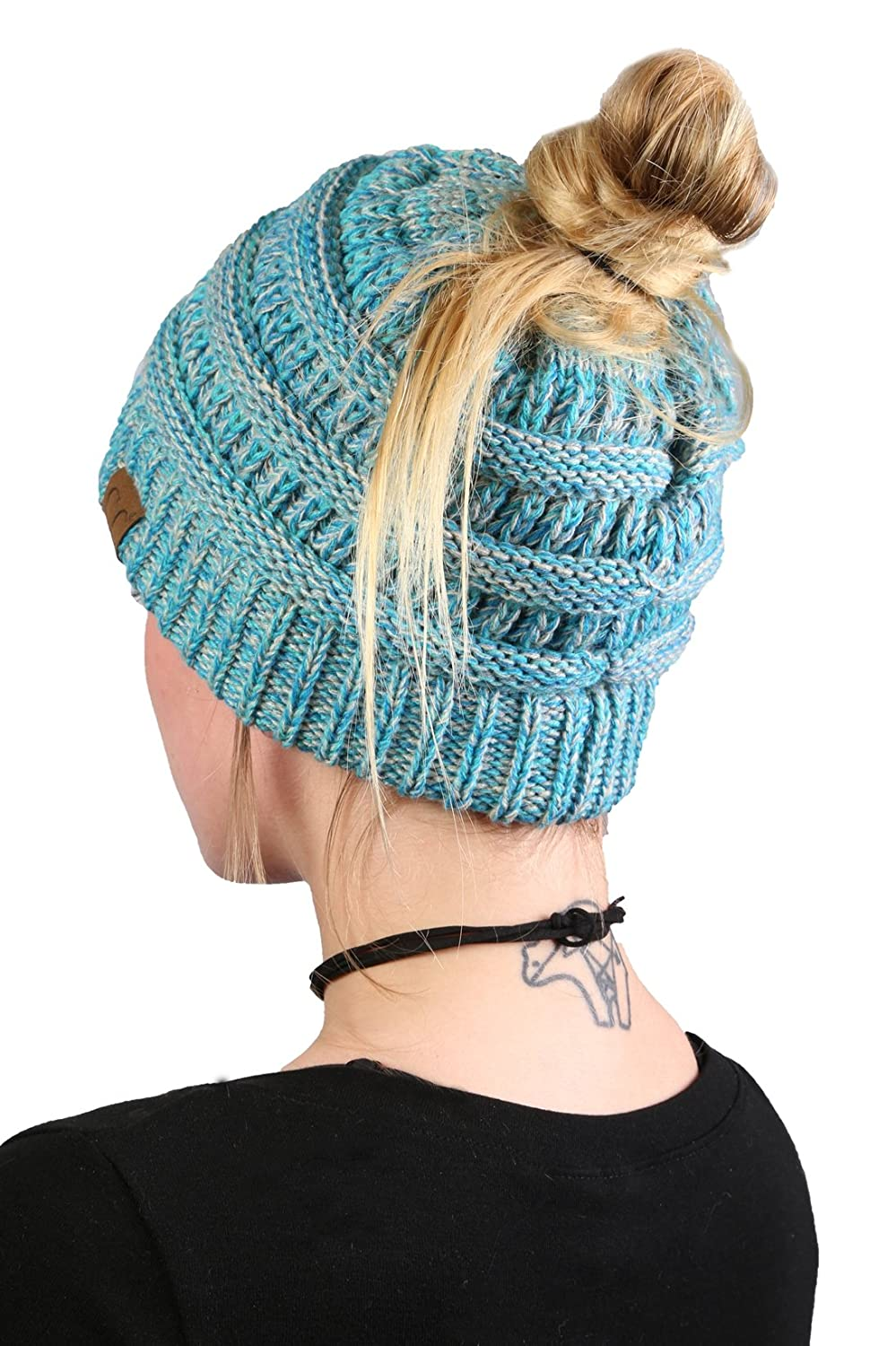 cb664f46ca0 Funky Junque Womens Beanie Ponytail Messy Bun BeanieTail Multi Color Ribbed  Hat Cap ...