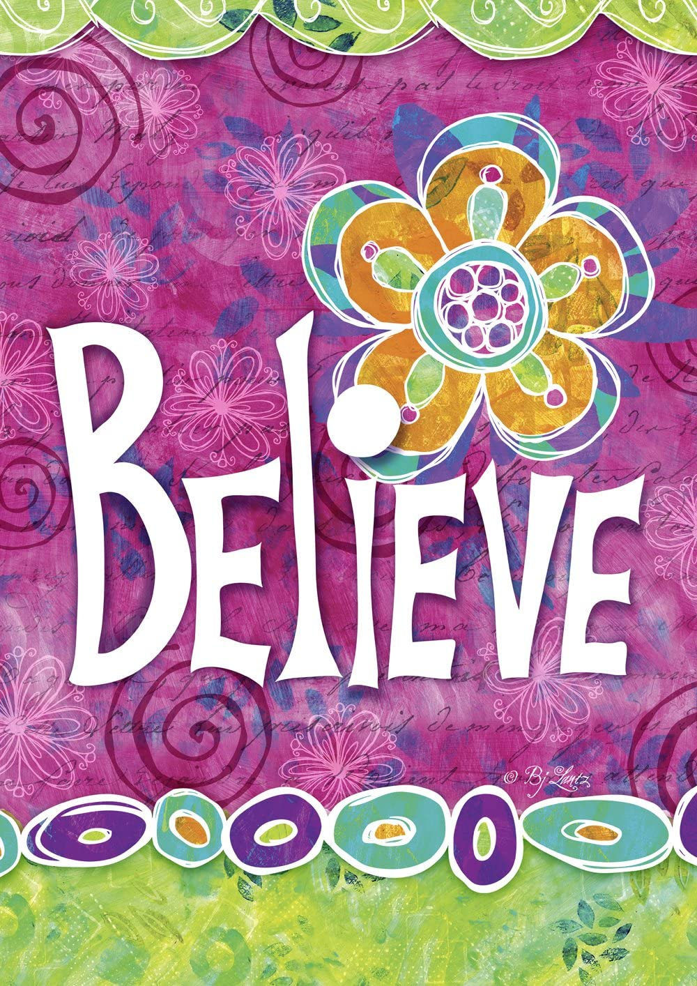 Toland Home Garden 109496 Believe Forever Decorative Colorful Inspirational Flower Double Sided , Purple/Green/Orange/White ,House Flag 28 x 40 Inch