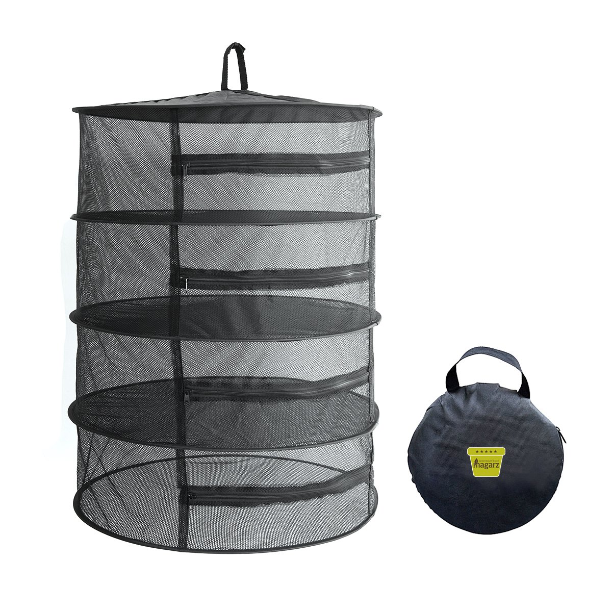 Magarz 4 Layer Drying Rack Net Hanging Collapsible Solar Dehydrator with zipper (black)