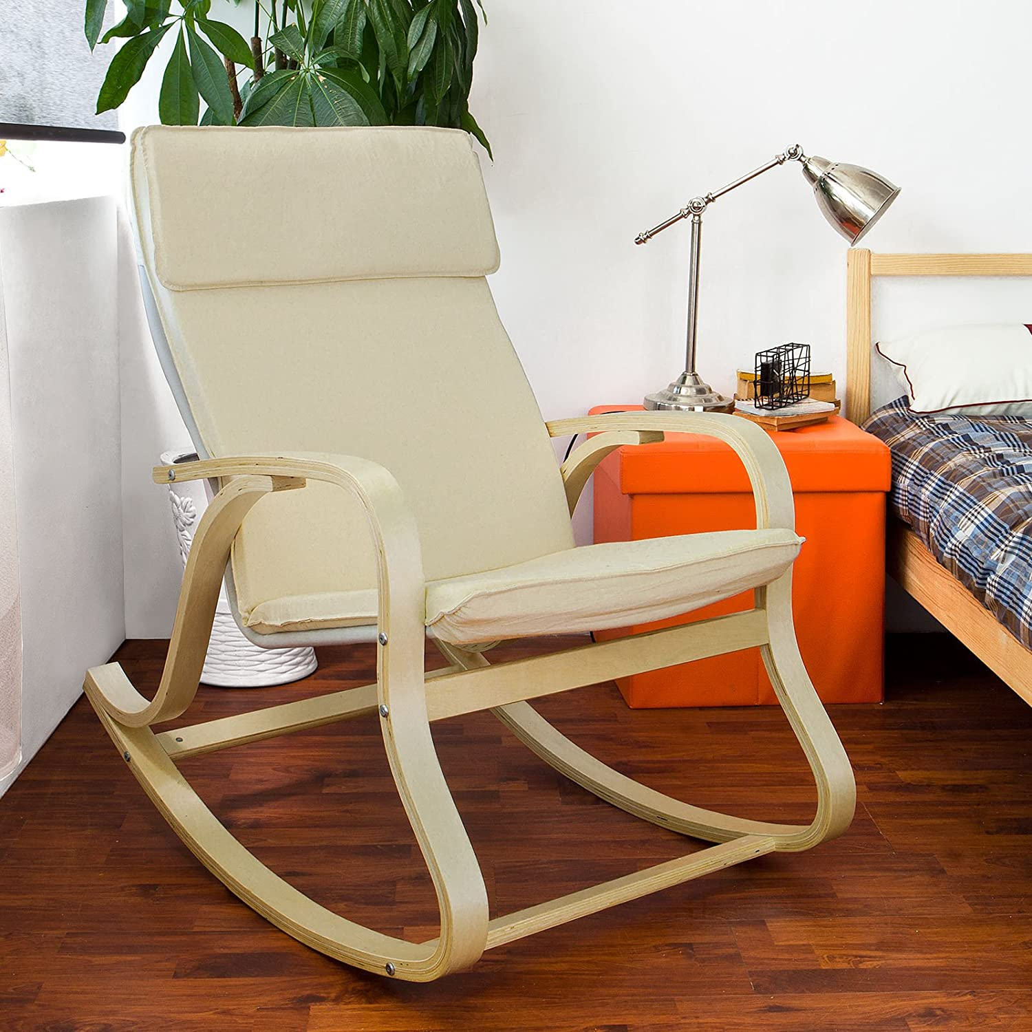Haotian Comfortable Relax Rocking Chair, Lounge Chair Relax Chair with Cotton Fabric Cushion (FST15-W)