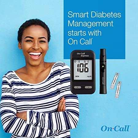 Amazon.com: On Call Express Diabetes Testing Kit- On Call Express Blood Glucose Meter, 10 Blood Test Strips, 1 Lancing Device, 30G Lancets, Control Solution ...