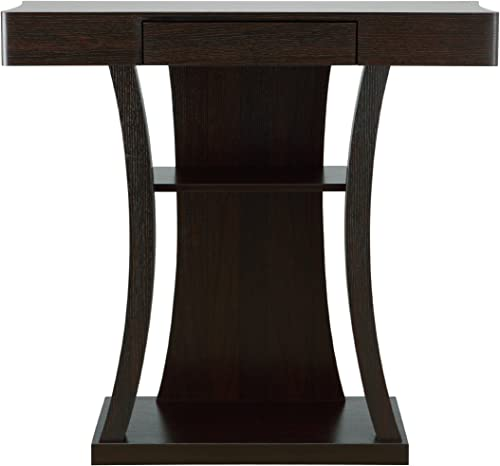 ioHOMES Kelvin Transitional One Drawer Rectangular Top Console Table with 2-Shelf, Cappuccino
