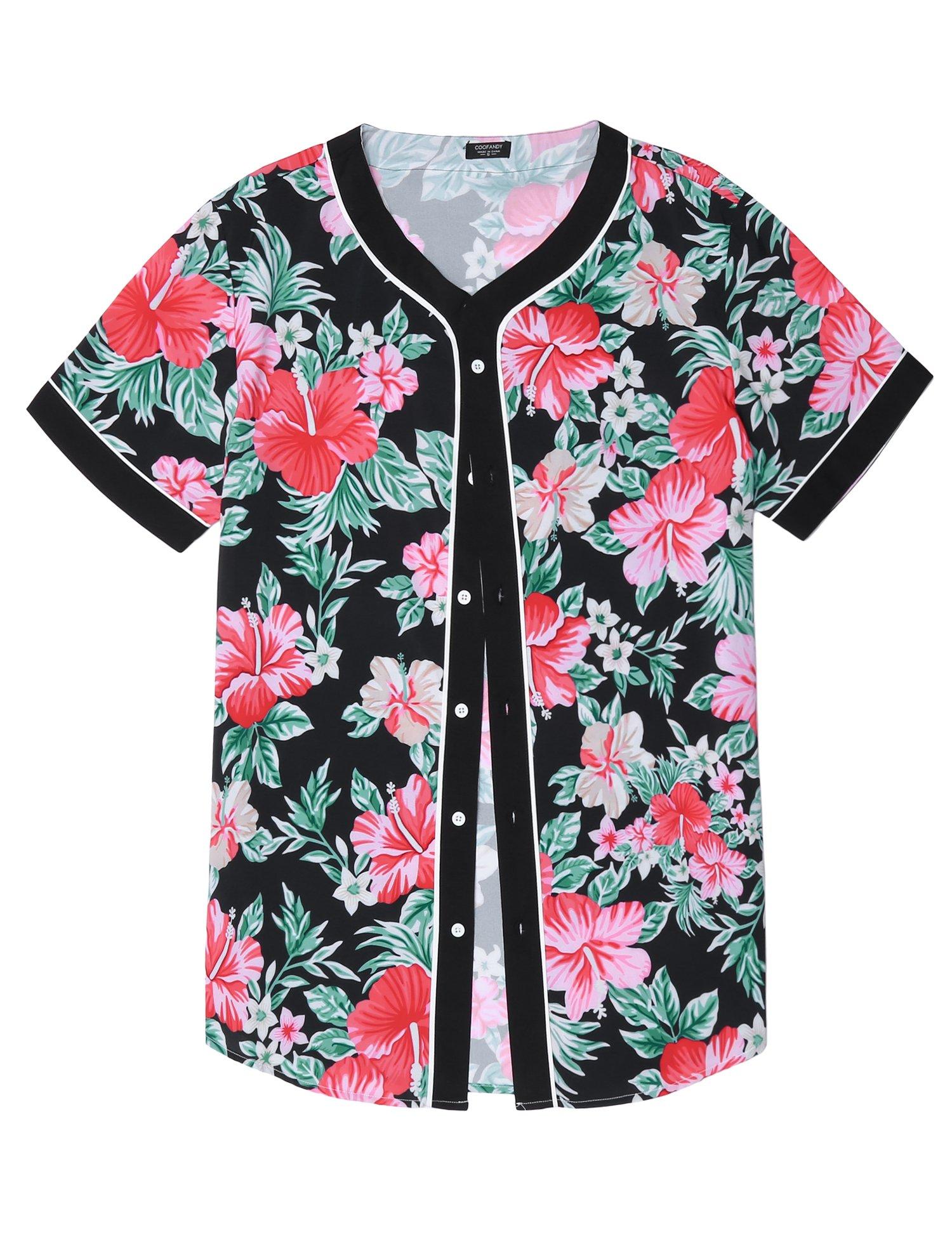 COOFANDY Mens Casual Floral Print Hip Hop Button Down Baseball Jersey Shirts, Pat, Large