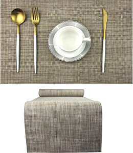 BeChen Durable Placemats Set of 6 Vinyl Heat-Resistant Table Mats Washable Plastic Placemats for Dining Table (Camel)