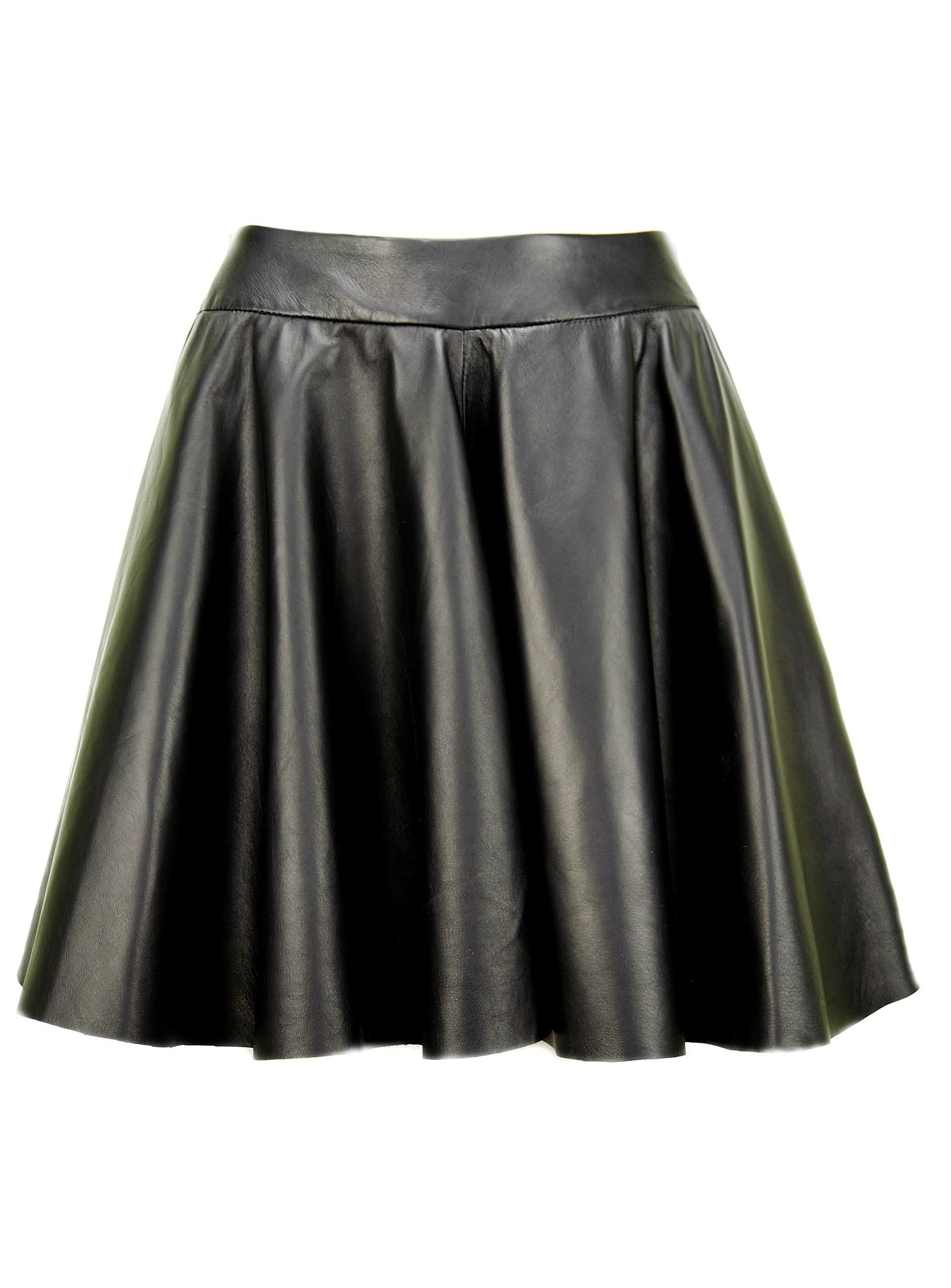 Women's Leather skirt, black circle skirt KSP-0002 (M, black)