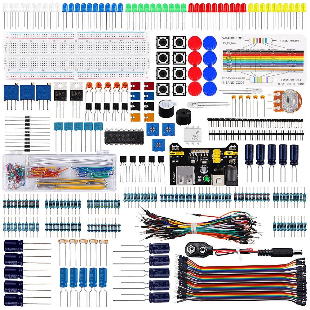 Keywish Electronics Basic Starter Kit w/Breadboard,Jumper Wires,Color Led,Resistors,Capacitor,Buzzer for Arduino UNO R3 Mega2560 Mega328 Nano (CP-SuperKit)
