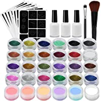 Glitter Tattoo Kit Xpassion Temporary Tattoos Face Painting Make Up Body Glitters with 24 Colour Glitter,118 Sheet Themed Tattoo Stencil, 3 Glue, 2 Brushes, Perfect Party Set/ Gift for Xmas, New Year