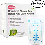 60 Thermal Sensor Breast Milk Bags - Shows When Milk is Frozen, Cold or Hot - Self Standing, Zip Top, Leak Proof, Freezer Safe - Pre Sterilized - BPA Free - 7oz - by Unimom
