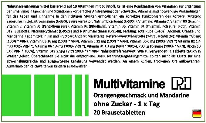 MULTIVITAMINAS PH 20 comprimidos efervescentes, 10 vitaminas que te aportaran energía y vitalidad. También alivia los síntomas de resaca: Amazon.es: Salud y ...
