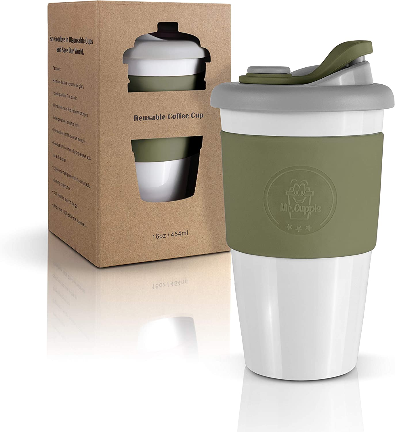 Mr.Cuppie Reusable Coffee Cup with Lid, Lightweight Portable Travel mug, Dishwasher and Microwave Friendly To-go Eco Coffee Mug, 16oz