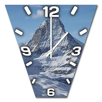 Montaña, diseño reloj de pared de aluminio Dibond para colgar, 48 cm de diámetro