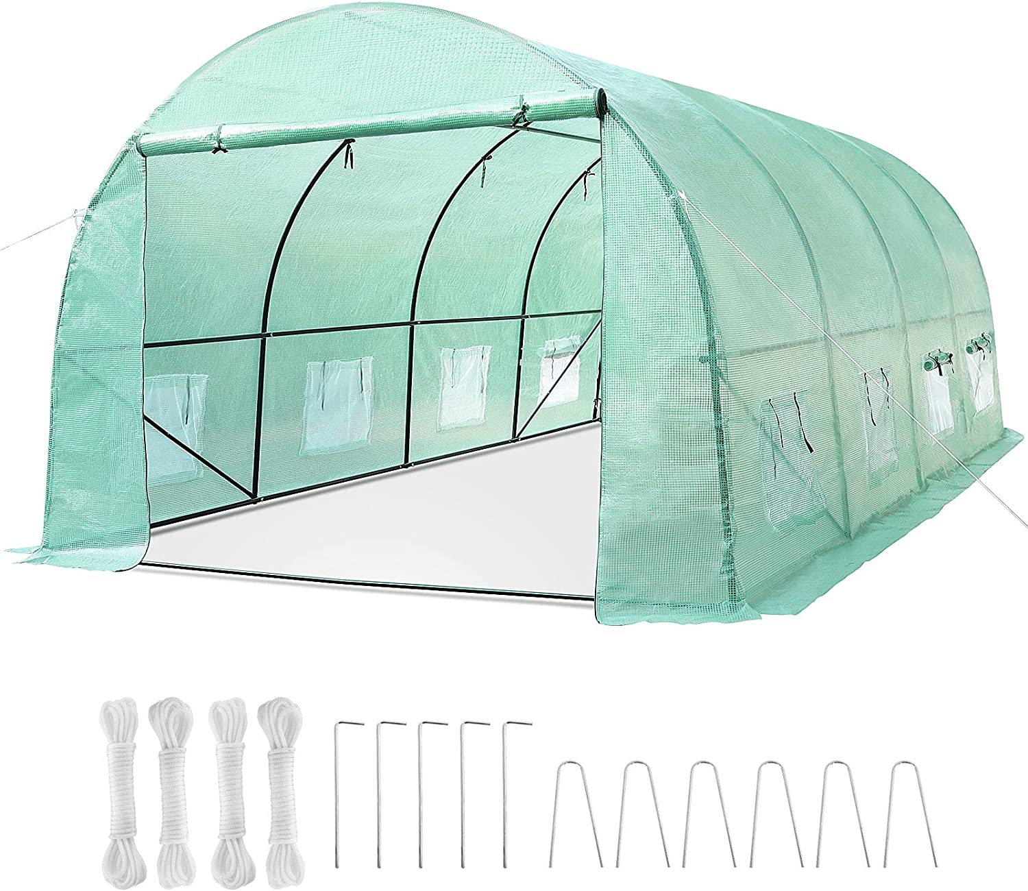 GARTIO 20x10x7FT Upgraded Large Walk in Greenhouse Outdoor Hot Tunnel Tent Gardening Grow House for Plants W/ Dual-Zipper Mesh Doors, 8 Roll-Up Windows, Galvanized-Steel Frame, Ropes & Ground Staples