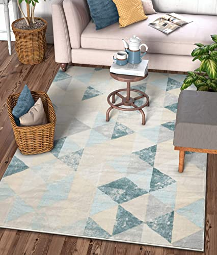 Well Woven Melody Mint Blue Geometric Tile Modern 9×13 9 3 x 12 6 Area Rug Mint Blue Triangles Isometry Marble Distress Contemporary Carpet
