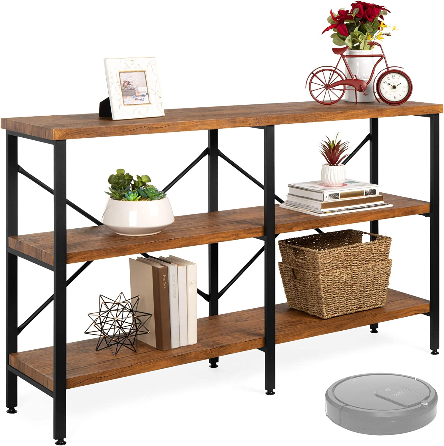 Best Choice Products 55in Rustic 3 Tier Console Sofa Table Industrial Foyer Table For Living Room Entry Way Hallway W Eva Non Scratch Feet Steel Frame Brown Furniture Decor