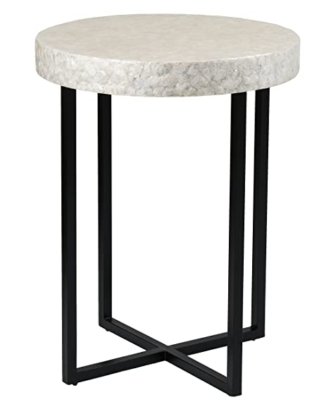 Amazon.com - East at Main Sanders Off-White Capiz Round Accent Table