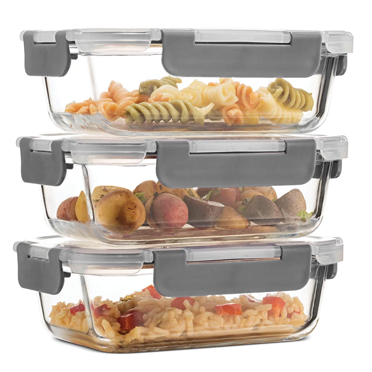 Superior Glass Meal Prep Containers - 3-pack (21oz) Newly Innovated Hinged BPA-free Locking lids - 100% Leak Proof Glass Food Storage Containers, Great on-the-go, Freezer to Oven Safe Lunch Containers