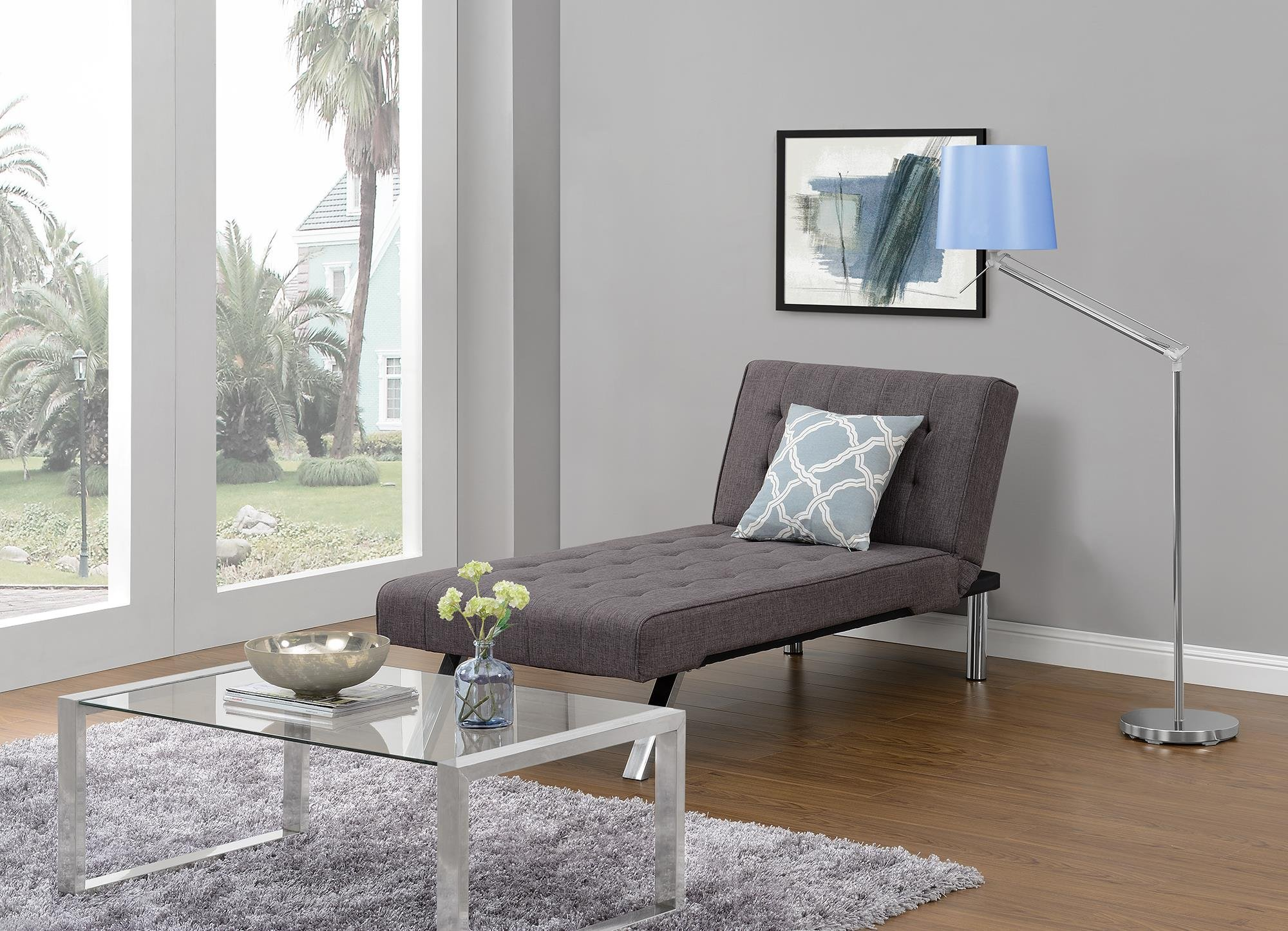 DHP Emily Linen Chaise Lounger, Stylish Design with Chrome Legs, Grey by DHP (Image #3)