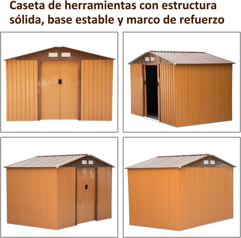 Outsunny Caseta de Jardín Tipo Cobertizo Metálico Ocre para Almacenamiento de Herramientas 277x191x192cm Ocre Oscuro: Amazon.es: Jardín
