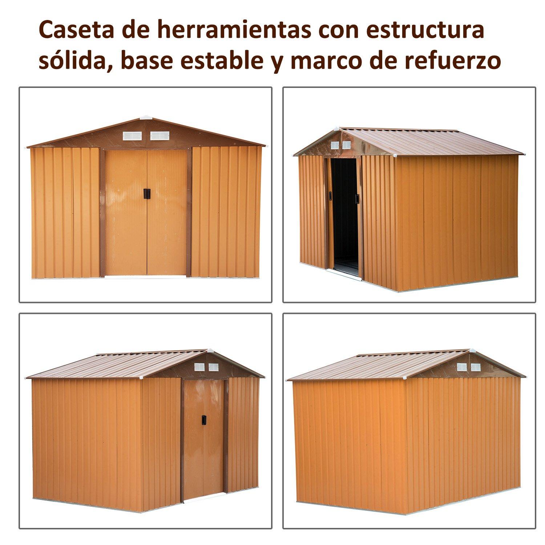 Outsunny Caseta de Jardín Tipo Cobertizo Metálico Verde/Amarillo para Almacenamiento de Herramientas 277x191x192cm (Amarillo Oscuro): Amazon.es: Jardín