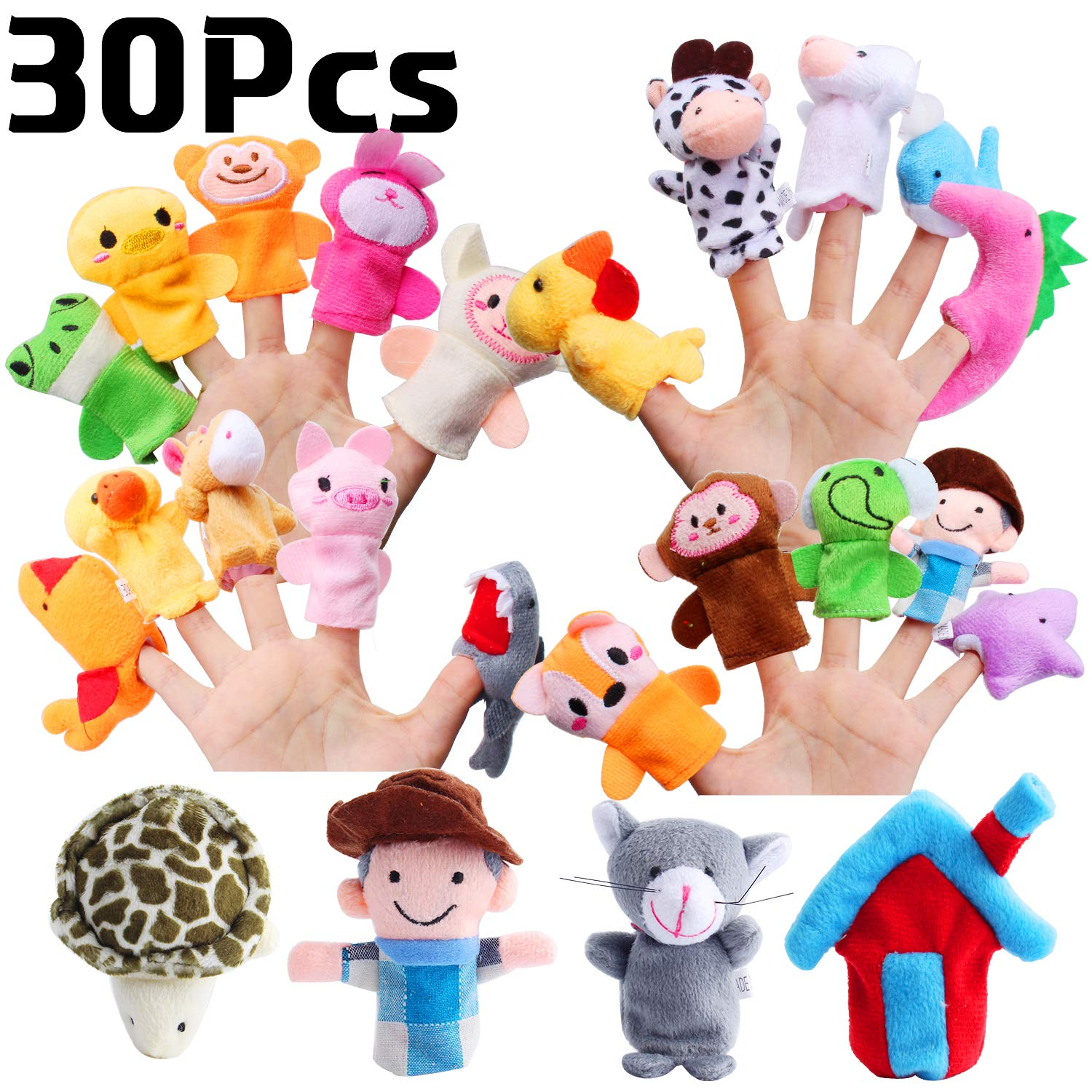 Hicdaw 30PCS Farm Animals Finger Puppets, Baby Story Puppet Toys Mini Plush Figures Toy Soft Hands Finger Puppets for Children