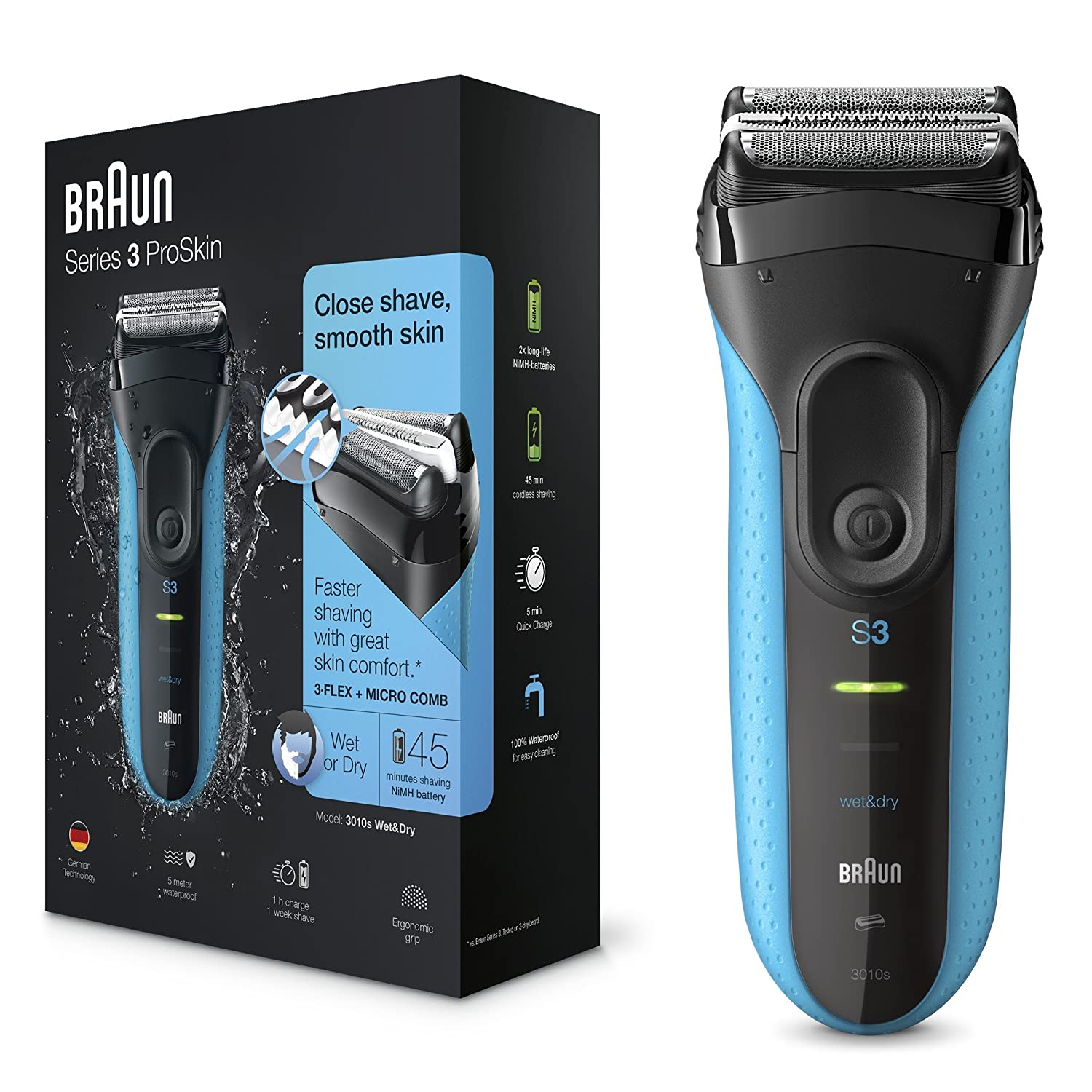 Braun Series 3 ProSkin 3010s Electric Shaver, Black/Blue, Rechargeable and Cordless Wet and Dry Electric Razor for Men Procter & Gamble 81607220