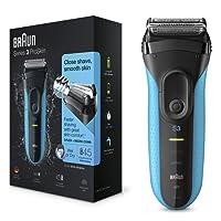 Braun Series 3 ProSkin 3010s - Afeitadora eléctrica para hombre, máquina de afeitar barba inalámbrica y recargable, Wet&Dry, color negro y azul