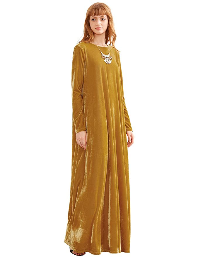 07ca45aa1 MakeMeChic Women's Elegant Long Sleeve Velvet Loose Maxi Dress: Amazon.ca:  Clothing & Accessories
