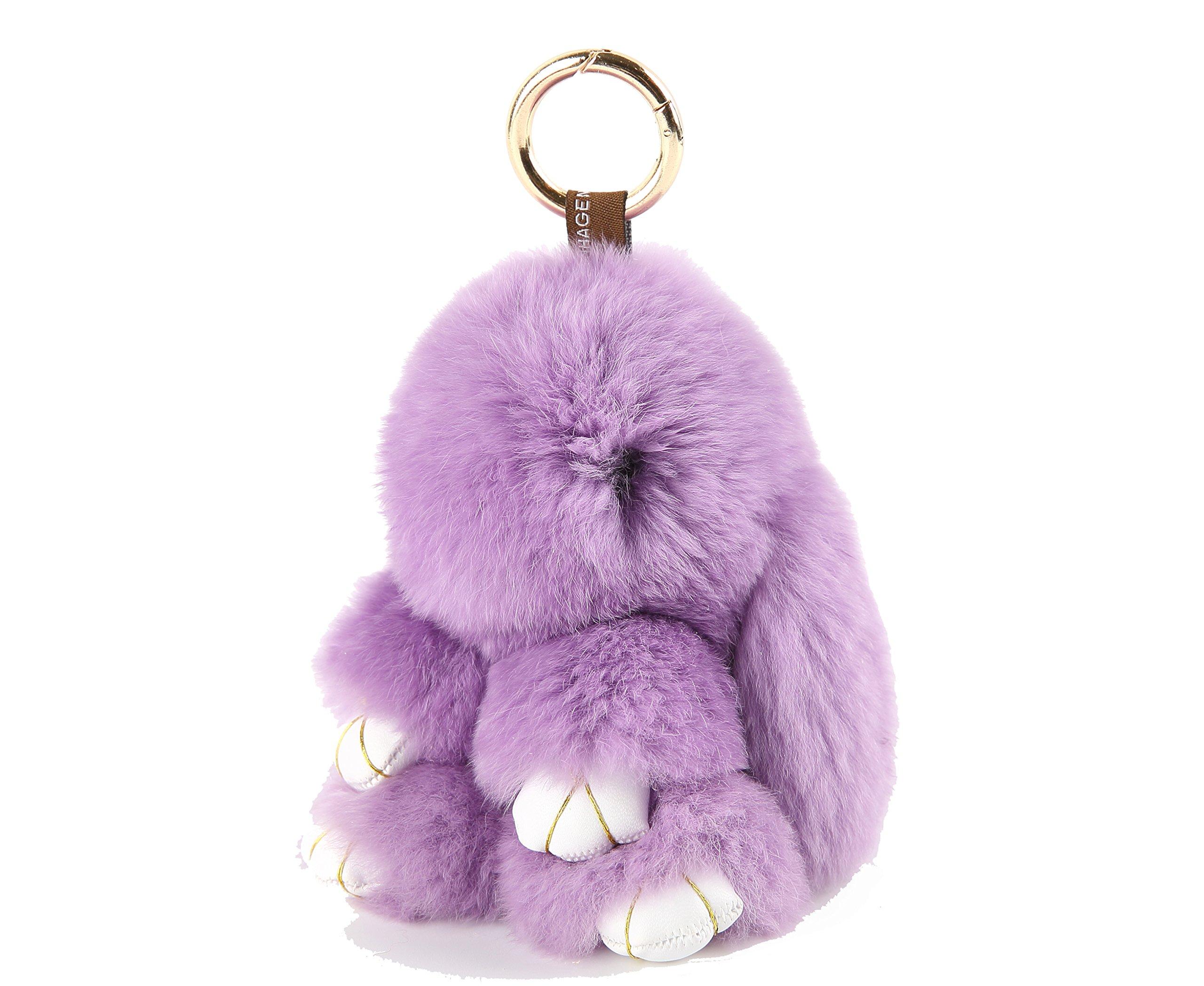 YISEVEN Stuffed Bunny Keychain Toy - Soft and Fuzzy Large Stitch Plush Rabbit Fur Key Chain - Cute Fluffy Bunnies Floppy Furry Animal Doll Gift for Girl Women Purse Bag Car Charm - Purple