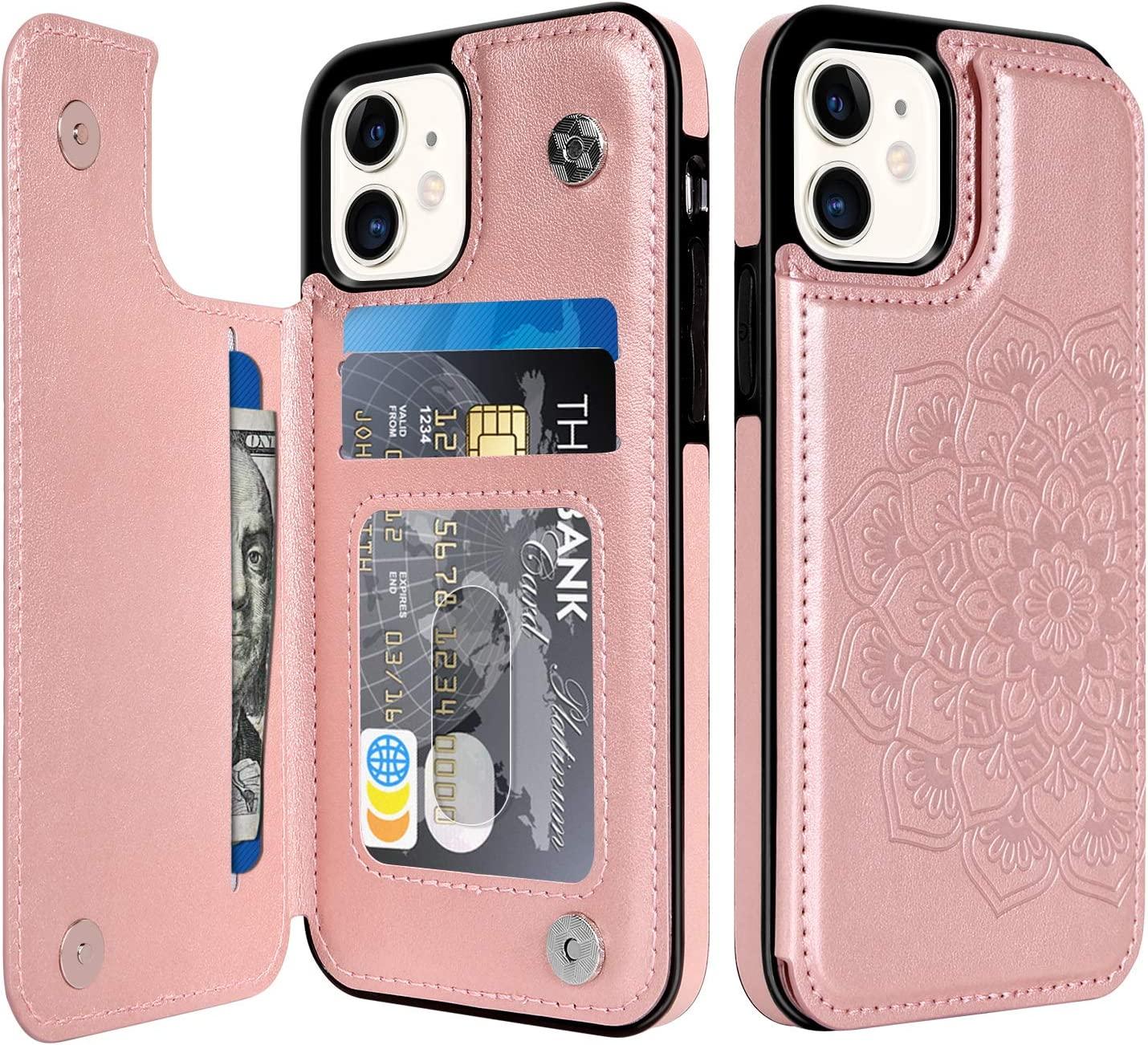 BENTOBEN iPhone 11 Wallet Case with Card Holder, PU Leather Heavy Duty Rugged Protective Cases with Card Slots Shockproof Flip Folio Phone Case Cover for Apple iPhone 11 6.1 Inch 2019 -Rose Gold