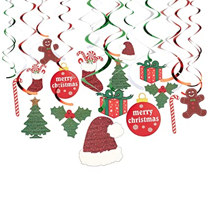 Hanging Christmas Decorations.Juvale 30 Pack Of Hanging Christmas Decorations Festive Xmas Swirl Decorations Winter Wonderland Party Decor Assorted Designs And Colors