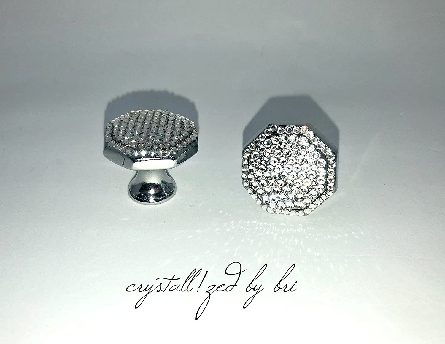 Pair Swarovski CRYSTALLIZED Octagon Cabinet Knobs Polished Chrome Bling Crystals