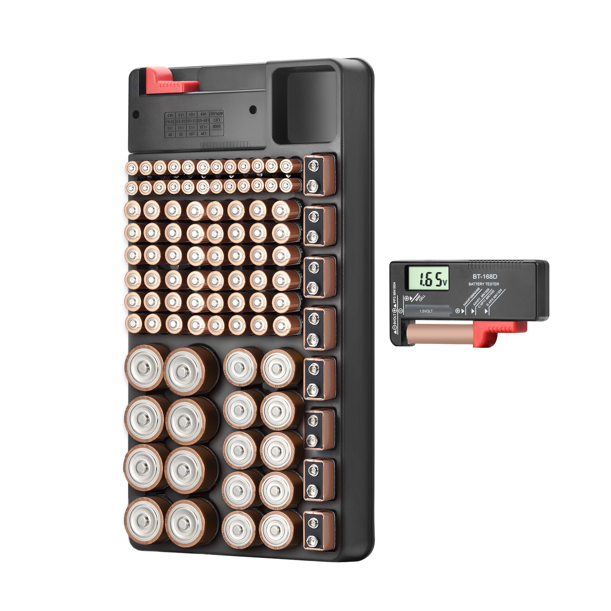 Grectek The Battery Organizer Storage Case with Removable Battery Tester, Holds 6 Various Sizes 100+ Batteries